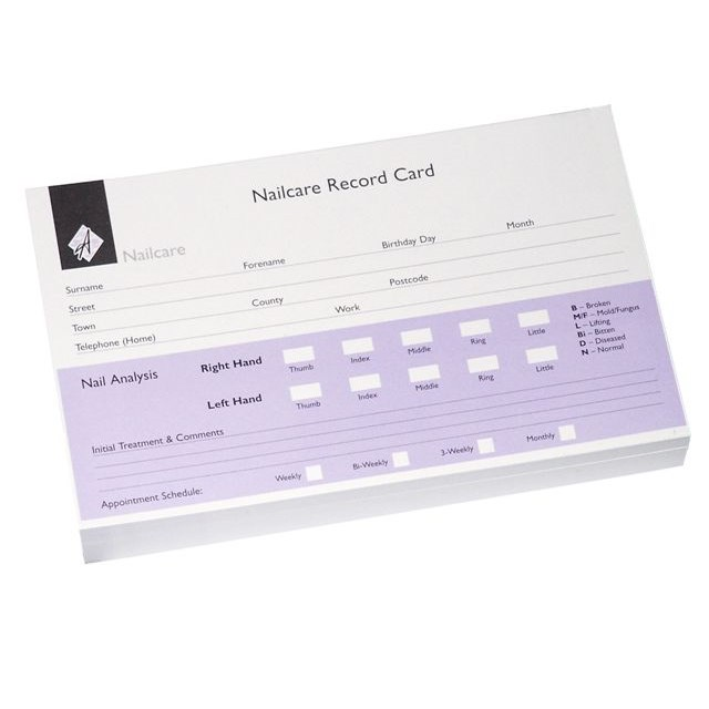 Nail Record Cards - Pack 100 (8x5)