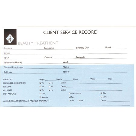 Beauty Record Cards - Pack 100 (8x5)